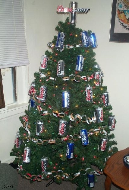 Christmas Tree with Beer Can Ornaments