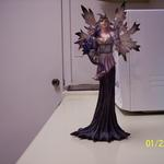 Sorceress Holding Baby Dragon and Crystal Orb Figurine