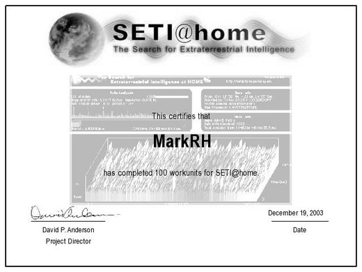 SETI 100 Units Completed Certificate