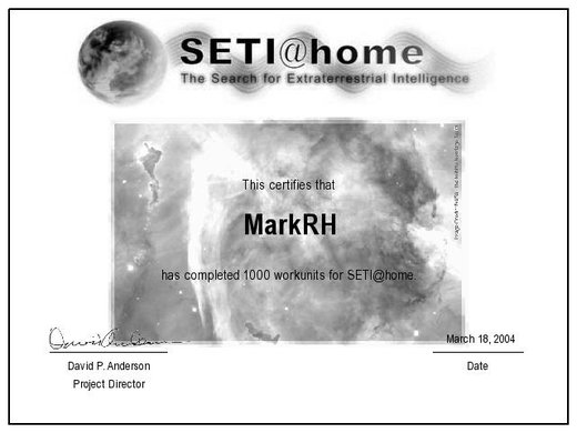 SETI 1000 units completed certificate