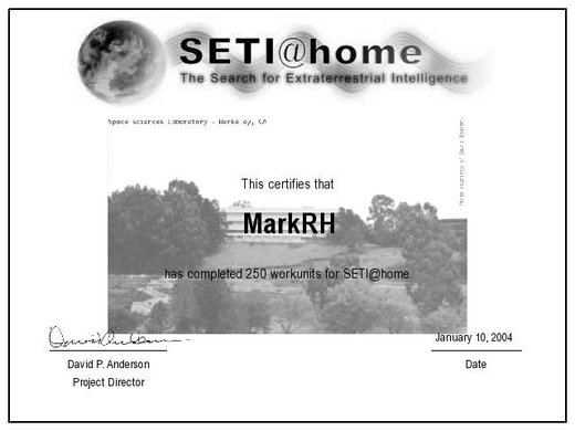 SETI 250 Units Completed Certificate