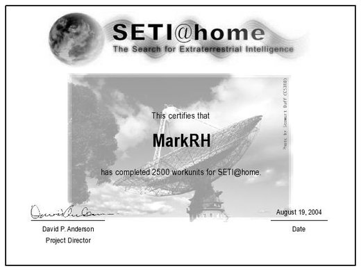 SETI 2500 Units Completed Certificate