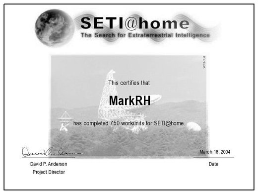 SETI 750 Units Completed Certificate